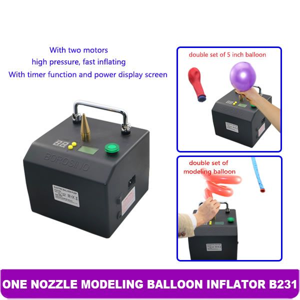 ProfessionalModelingBalloon Inflatorwith 6600 mA Lithium-ion batteryThe Lagenda B231 perfectly sizes non-round balloons as well as smaller round and heart balloons.Our favorite features of this machine are:- It's very lightweight and portable- It easily inflates double-stuffed balloons- It accurately sizes321and other non-round balloons- It can powered by a battery or plugged in (Battery Included)- It is a well-made metal casing- If you connect two machines one will 'control' the…