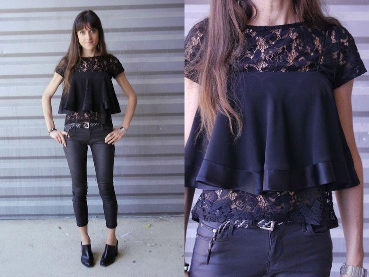 черная блузка с рюшами, черные брюки