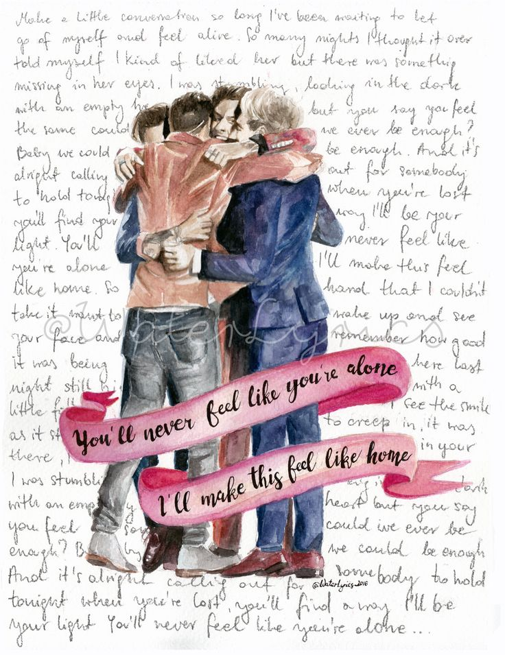 "Watercolor illustration of One Direction with ""Home"" lyrics by WaterLyrics on Etsy"
