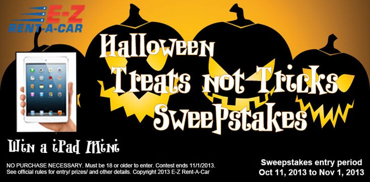 Enter the E-Z Rent-A Car Halloween Treats not Tricks Sweepstakes Today! You could win an iPad Mini or a $100 Gas Card.  Share your entry on Facebook and Twitter for additional chances.