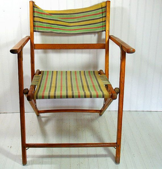 vintage wood and canvas folding beach chair retro telescope furniture outdoor lawn seating shabby