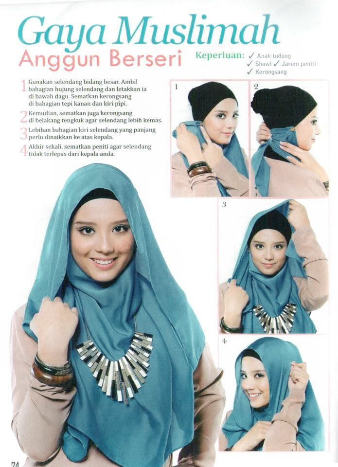 4 pins hijab tutorial. Im not sure how exactly....