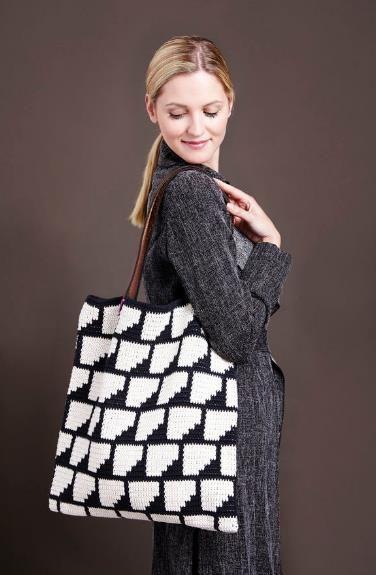 Große Tasche mit geometrischen Mustern - Häkelanleitung via Makerist.de