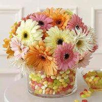 Easter: Ideas, Gerber Daisies, Gerbera Daisies, Easter Centerpieces, Flowers Centerpieces, Flowers Arrangements, Spring Centerpieces, Jelly Beans, Jellybeans