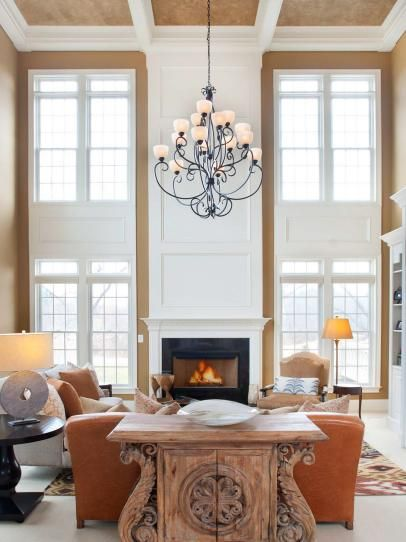 Transitional Neutral Two-Story Living Room
