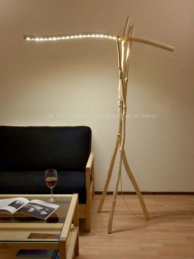 Floorlamp with led-lighting, made from poplar branches that had been ripped off in a storm. #lightobject #handmade #ledlight #madeinholland  #floorlamp #design #driftwood #dutchdesign #branchlight