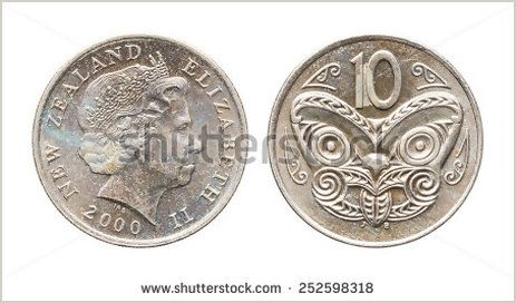 Close up year 2000 New Zealand 10 Cents coin isolated on white - Shutterstock