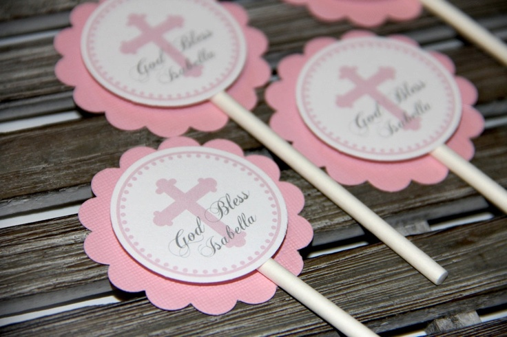 Personalized Pink Christening or Baby Baptism Cupcake Toppers. $9.00, via Etsy.