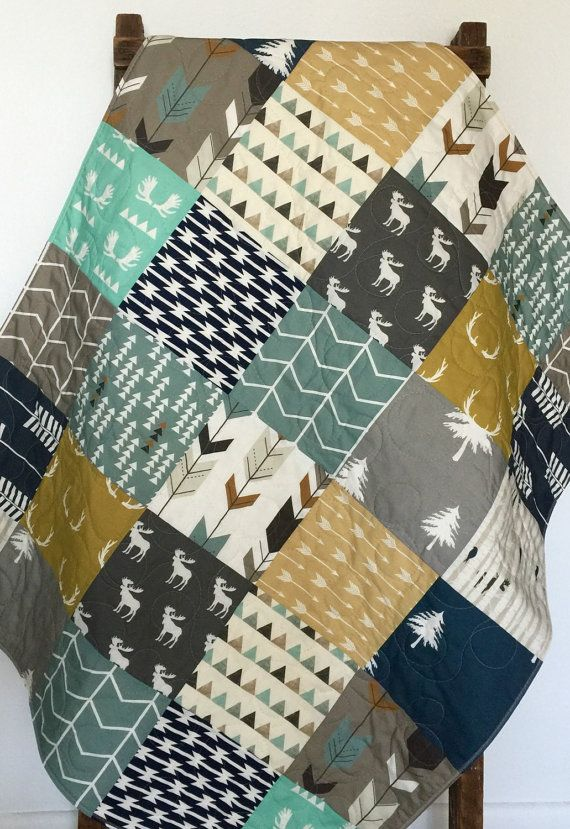 Adorable - baby boy - modern - moose - rustic - woodland - bow and arrow - navy - gray - blanket - baby crib or nursery quilt. This adorable baby quilt