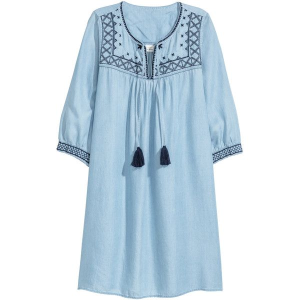 Lyocell Denim Tunic $39.99 ($40) ❤ liked on Polyvore featuring tops, tunics, v neck three quarter sleeve tops, blue tunic, denim top, v-neck tunic and 3/4 length sleeve tops