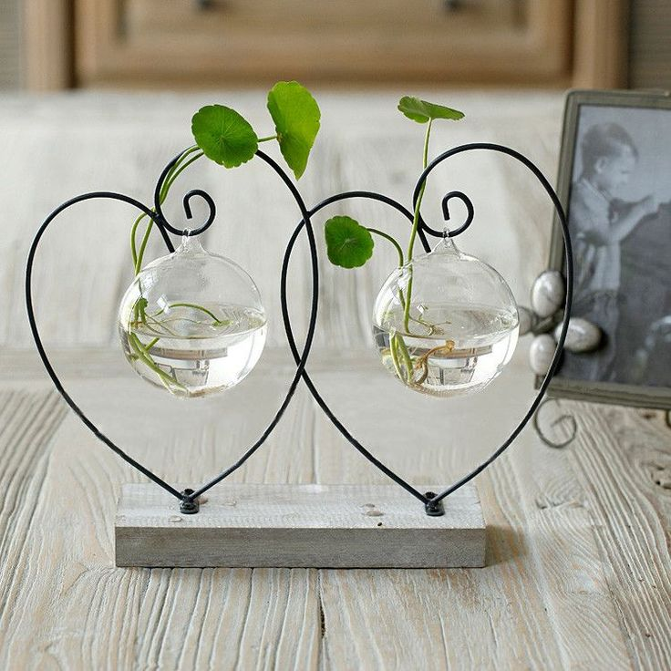 Decoración de la boda decoración del hogar retro hierro florero cristal artesanía doble corazón jarrones decorativos año nuevo navidad decoración vaso
