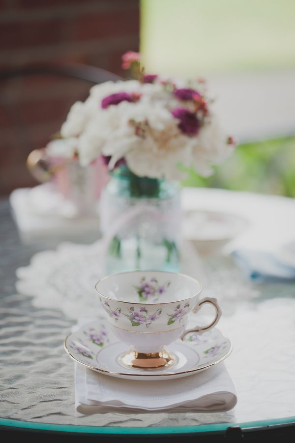 Fete the bride-to-be with a beautiful tea party themed bridal shower like this one.