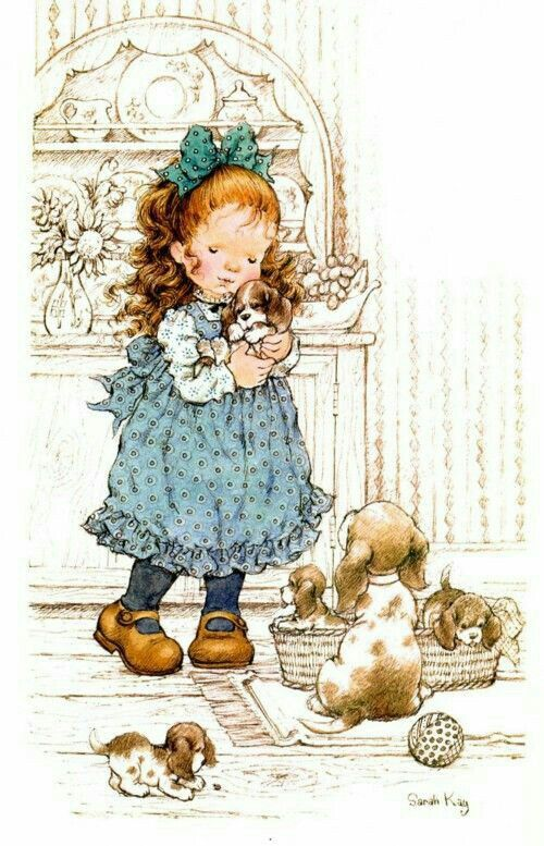 Niña con perritos-Ilus. Sarah Kay