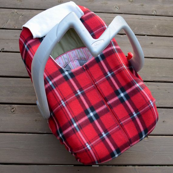 Winter Car Seat Cover for Baby Red Plaid Fleece by sophiemarie, $45.00