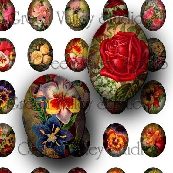 INSTANT DOWNLOAD Digital Collage Sheet Vintage by greenvalley (Craft Supplies & Tools, Scrapbooking Supplies, Scrapbooking Clip Art, digital sheet, collage sheet, printable, download, scrapbook, roses, daisies, orchids, pendant, oval, jewelry, cabochon)