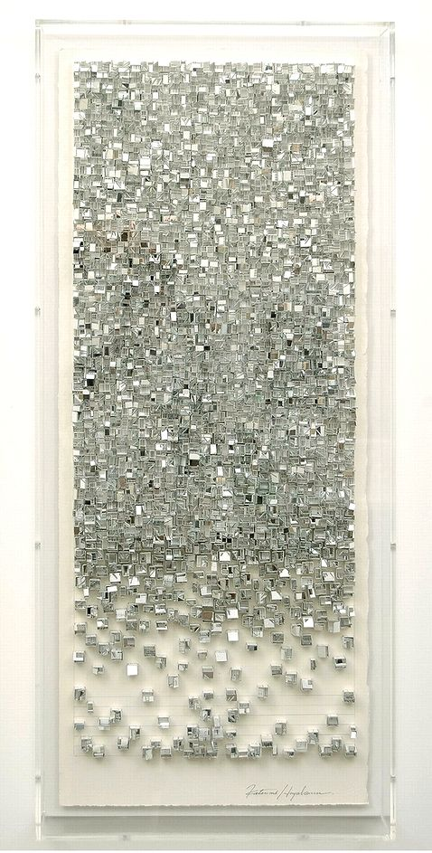 'Reflection 3' (2011) by Japanese artist Katsumi Hayakawa (b.1970). Paper, glue, pencil, vinyl chloride on arches paper, 33.5 x 79.5 cm. via the artist's site