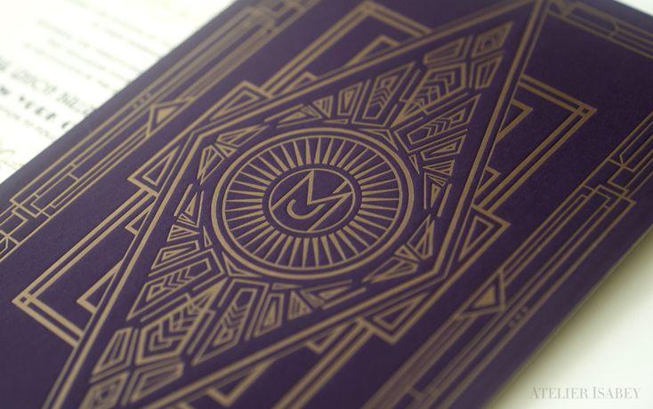 Letterpress Art Deco detailing on a Luxury Wedding Invitation