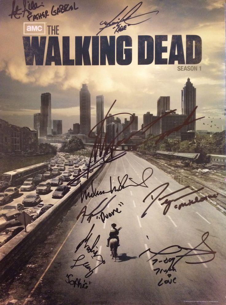 Walking Dead poster from season 1. Signed by Seth Gilliam (Father Gabriel), Michael Cudlitz (Abraham Ford), Michael Rooker (Merle), Adrian Ali Turner (Duane Jones), Melissa McBride (Carol), Danai Gurira (Michonne), Irone Singleton (T-Dog), Madison Lintz (Sophia).