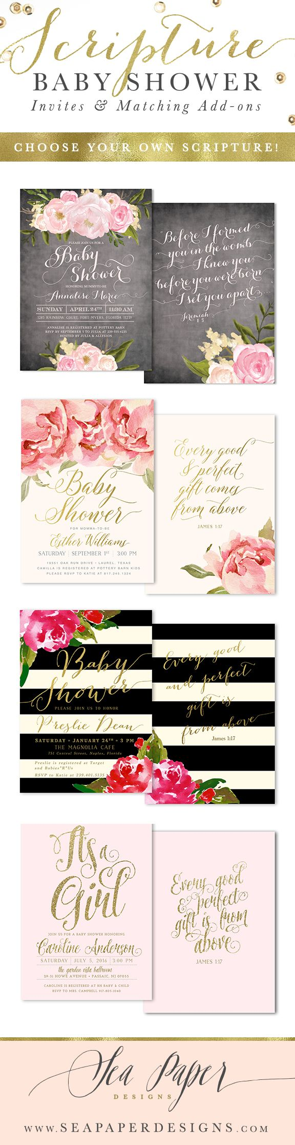 free printable camo baby shower invitations templates%0A Baby Shower invitations with scripture on the back  Made for any baby shower  event