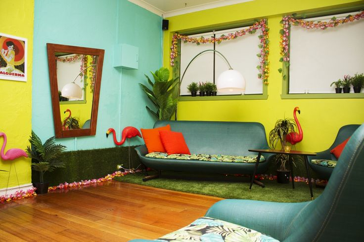 Maison Burlesque | Burlesque Boudoir and Studio based in Melbourne, Australia. Flamingo Room retro lounge area in our dance studio. 1960's garden party with astroturf and mod lounge suite.