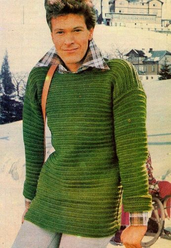8cae555fa70 Pánský zelený pulovr – NÁVODY NA HÁČKOVÁNÍ