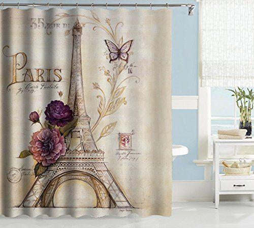 "Uphome Vintage Paris Themed Light Brown Eiffel Tower Bathroom Shower Curtain - Purple Flower Custom Polyester Fabric Bath Decorative Curtain (72""W x 72""H)"