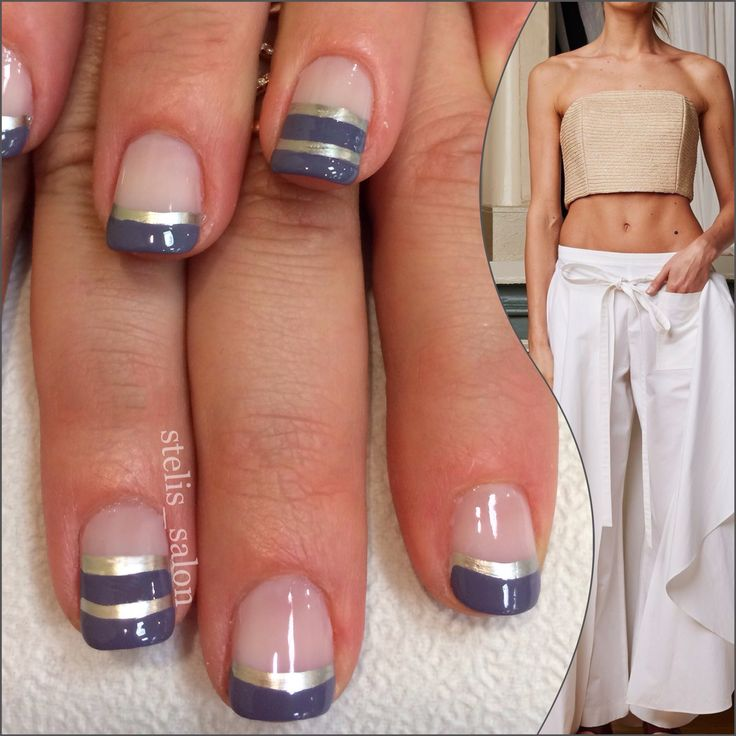 Steli's striped manicure in gold and gray with negative space - white pants and cream top by Rosie Assoulin spring 2015.