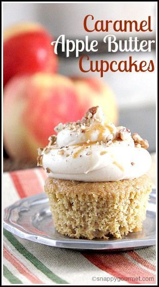 Caramel Apple Butter Cupcakes - easy homemade cupcake recipe perfect for fall or holidays like Thanksgiving! http://SnappyGourmet.com