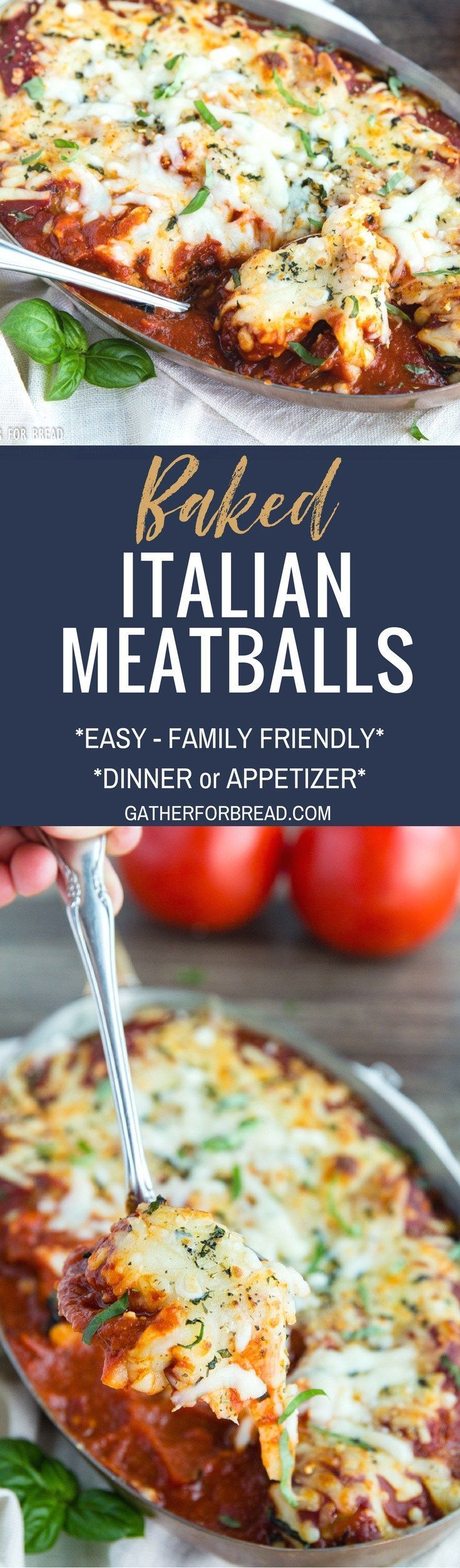 Baked Italian Meatballs - AD Cheesy Chicken Meatballs in a red pasta sauce.