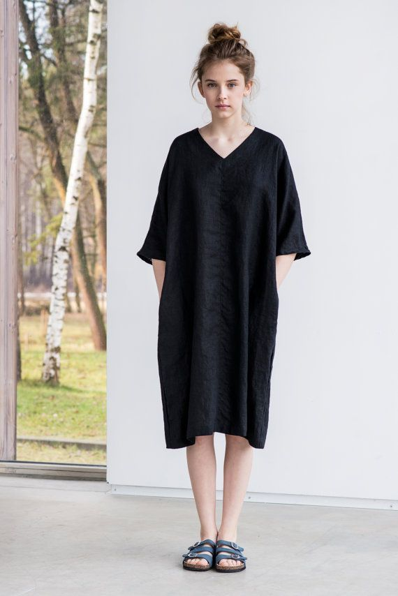 Deepest black linen tunic/dress. Washed linen kimono tunic. Oversize linen dress. V neckline linen dress