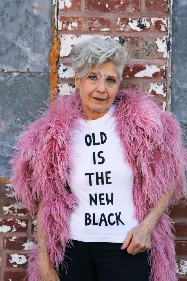 """""""Old is the new black"""" slogan t-shirt (what a woman)"""