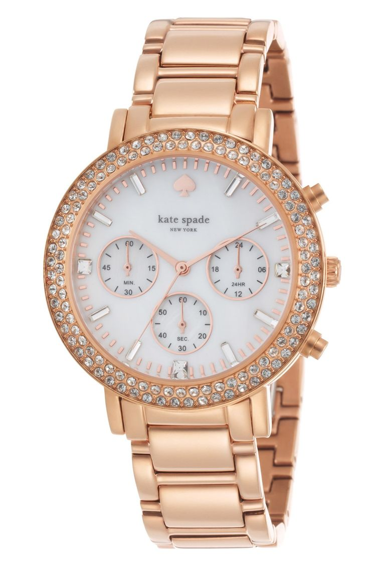 Love the sparkly crystals on this rose gold watch | Kate Spade.