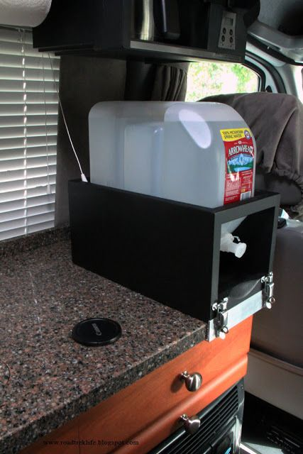 Roadtrek Modifications/ Mods, RV Upgrades /Modificatios, Campgrounds, Class B Mods / Modifications.: Removable Countertop 2.5 Gallon Water Container Holder