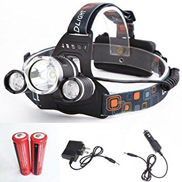 Sanyi Headlamp LED Flashlight Hands-free 4 Modes LED Headlamp with Red Indicator Light for Camping Running Hiking Outdoor Sports (head light with 2 battery + battery car charger)