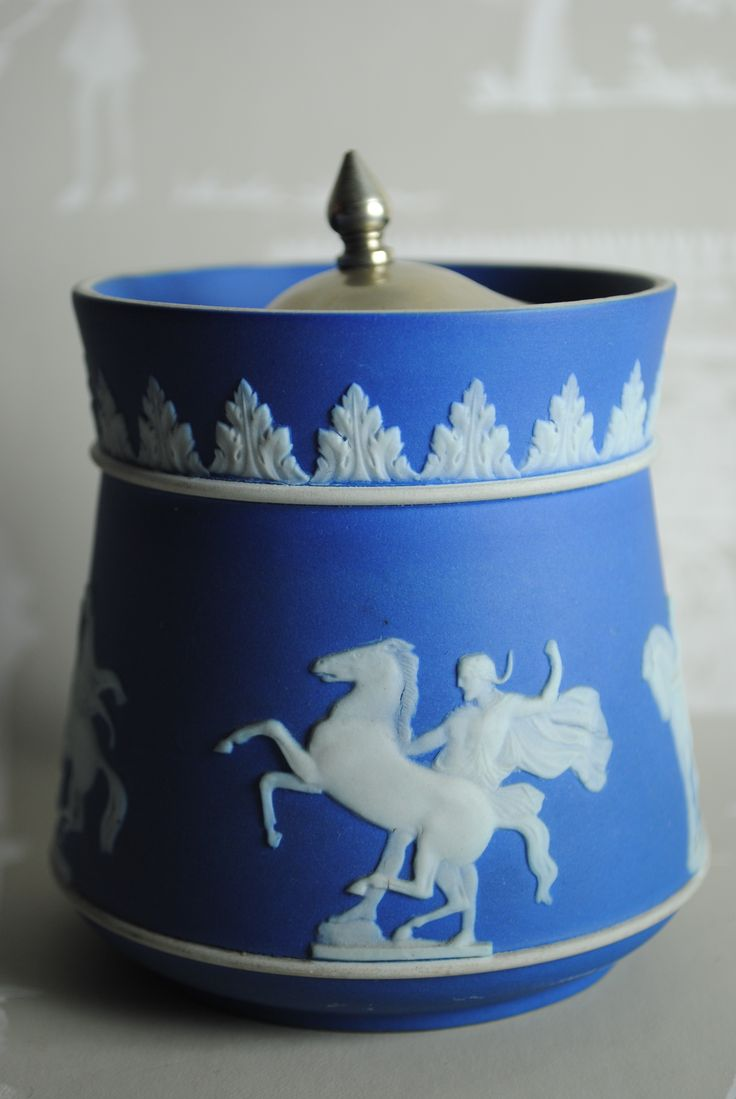 Incredibly rare bright blue Wedgwood cobalt dipped preserve pot depicting a lesser used grecian scene of horses and warriors. For sale by Sarpri on facebook and etsy.