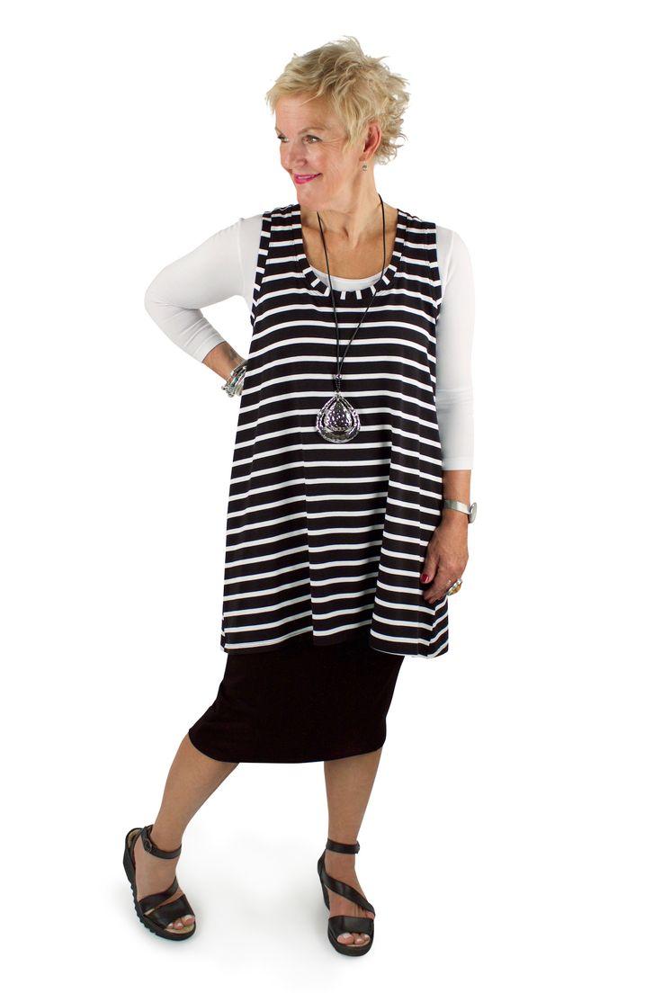 Lousje & Bean Loose Tank in Bamboo stripes. Pencil skirt in Black viscose Summer 2017 Collection #lousjeandbean #bamboo #stripes #flyshoes #londonfly #sleeveywonder #cestmoi #c'estmoi #summer2017 #pencilskirt