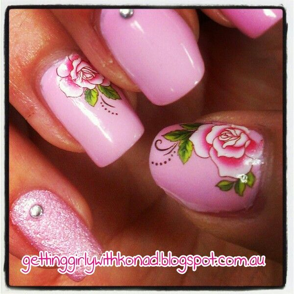 Pink Roses - China Glaze 'Something Sweet' and OPI Liquid Sand 'Pussy Galore' - Born Pretty Store water nail decal - Accented with silver studs