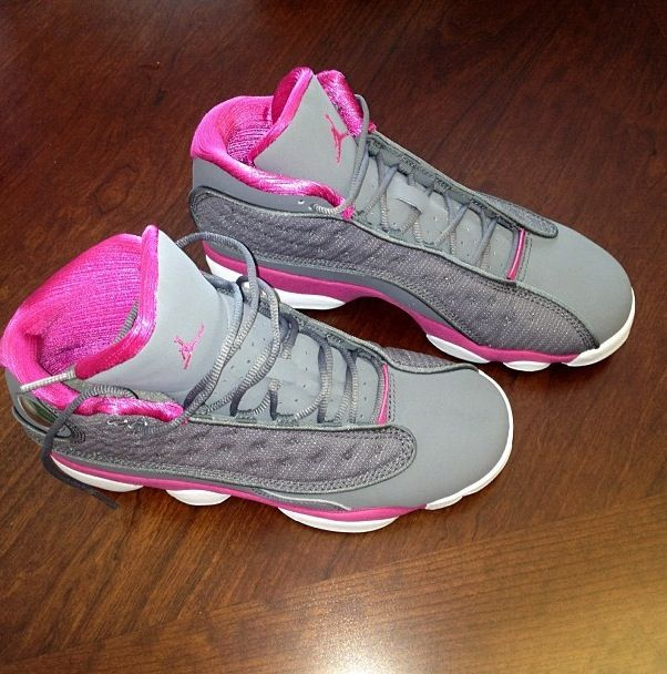 J's , shoes, sneakers, Pink and grey, cute