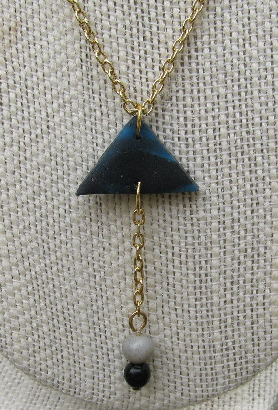 Geometric Bohemian Necklace with Triangle Pendant by TangoTLH