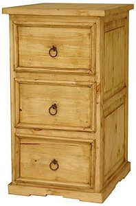 This tall pine file cabinet features three legal-sized file drawers with rustic, beveled fronts. Southwestern styling around the bottom complements any home or office decor. Made by hand in Mexico.  LaFuente.com