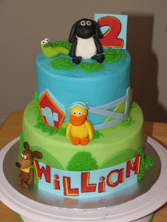 Timmy Time Cake - iced in buttercream with fondant figures and decorations