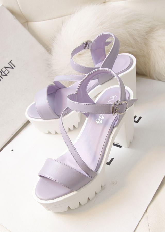 2014 летние новые туфли водонепроницаемый толстым дном толщиной с супер-высокие каблуки сандалии Роман слово поясной фиолетовый - Taobao