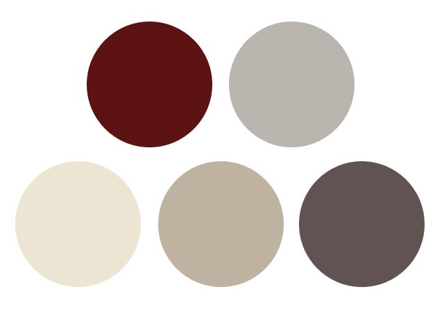 burgundy/oxblood, greys and creams  This color palate might work well for you!