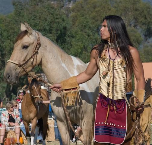 David Midthunder with one of our Choctaw horses, Nahne Cha Ha at Return to Freedom Spirit of The Horse Event in 2009.