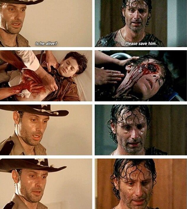 Rick deeply distressed about his critically injured son Carl. Season 2 and 6.