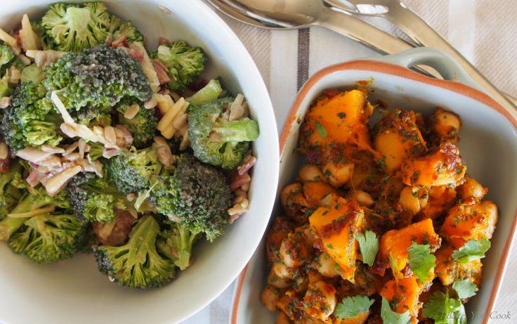 Broccoli Salad, Chickpea & Pumpkin Salad
