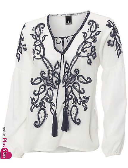 Koop B.C. Best Connections - Blouse met borduursel ecru in de Heine online-shop