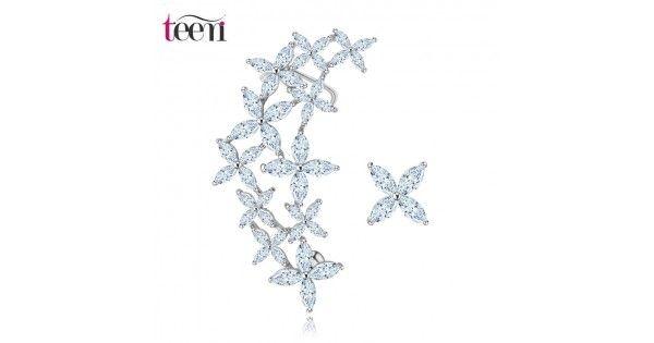 joyería fina Romantic oro blanco plateó geométrica CZ Crystal Flower Stud arete