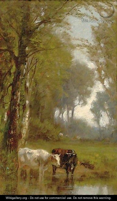 James McDougal Hart Paintings | The Watering Hole - James McDougal Hart