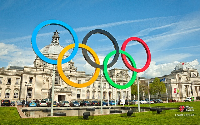 August 2012 - Olympic Rings outside Cardiff City Hall and National Museum, South East Wales, remember graduation photos in front of these!!